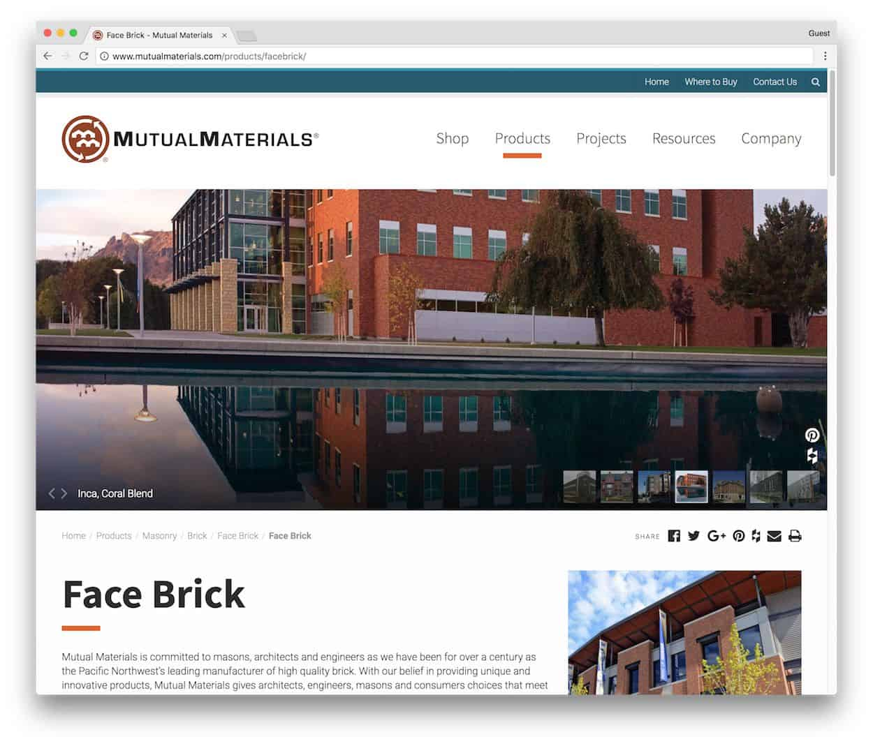 building materials website product page